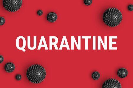 Text QUARANTINE on red background Stock fotó