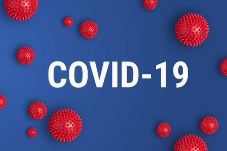 Inscription COVID-19 on blue background. World Health Organization WHO introduced new official name for Coronavirus disease named COVID-19 免版税图像 - 140016712