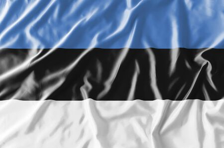 Flag of Estonia for celebrated annually on February 24 in honor of adoption of the Declaration of Estonian Independence in Tallinn