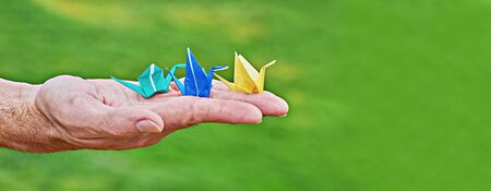 Traditional Japanese paper crane on male hand as symbol of peace and happiness on green background. Male palm with colorful handmade paper cranes orizuzu with copy space, banner Stock fotó
