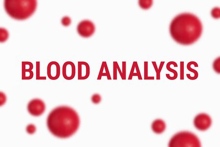 Text BLOOD ANALYSIS on white background with abstract red blood cell or model of coronavirus. Abstract background of virus pandemic concept Stock fotó