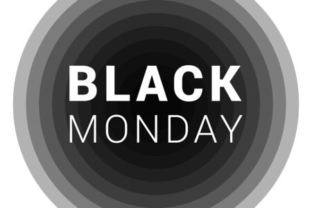 Black Monday inscription and on round black background. Abstract concept of falling financial stock markets in World