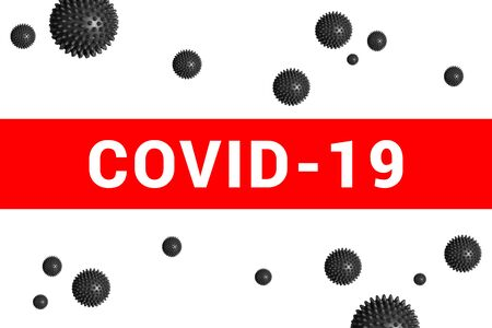 Bright red headline with inscription COVID-19 on white with abstract virus strain model. Coronavirus confirmed as pandemic by World Health Organization
