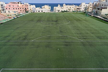 Top view of an empty soccer field during quarantine of the coronavirus pandemic covid-19 in Malta