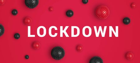 Inscription LOCKDOWN with red and black abstract virus strain model on red background. Cancellation, closure and postponement are continuing across world in an attempt to stem spread of coronavirus