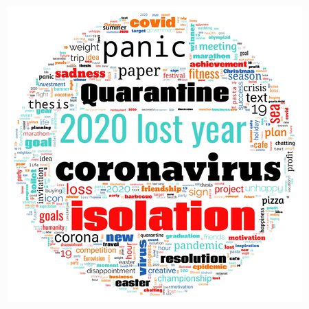 Word cloud on theme lost year 2020 in sphere shape on white background. Abstract concept of falling financial stock markets, lost goals and yearly plans during quarantine pandemic of coronavirus Stock Photo