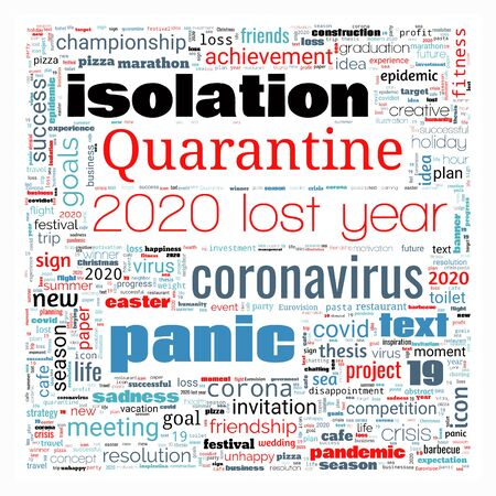 Word cloud on theme lost year 2020 in square shape on white background. Abstract concept of falling financial stock markets, lost goals and yearly plans during quarantine pandemic of coronavirus Stock Photo