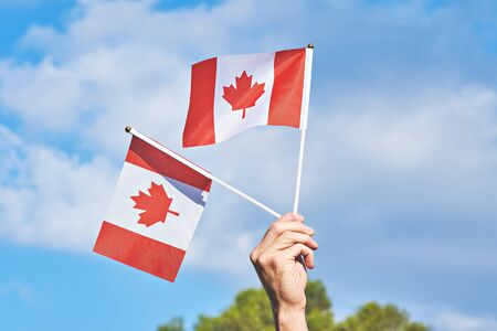 Raised hand with two waving Canadian flag against blue sky. Happy Canada day. 1st July celebrate national holiday of Canada called as Canada's birthday Stock fotó