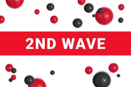 2nd wave of COVID-19 on red headline on white with abstract coronavirus virus strain model. Danger of second wave of coronavirus disease concept