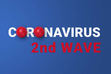 2nd wave of COVID-19 on blue background with abstract coronavirus virus strain model. Danger of second wave of coronavirus disease concept Stock fotó