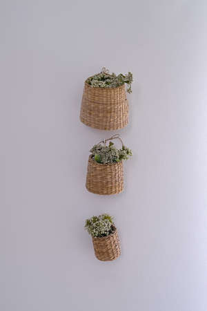 Willow wicker storage baskets with flower. Set of three wicker baskets decorated by flowers, hanging on white wall