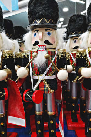Decorative toy wooden nutcracker in store during Christmas holidays: Tallinn, Estonia - October 22, 2020 스톡 콘텐츠