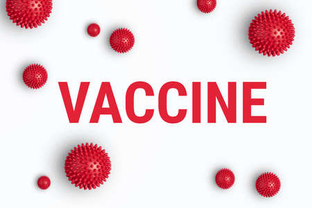 Inscription VACCINE on white background with abstract  virus strain model. Dvelopment of  . vaccine and worldwide vaccination of humanity, 3d illustration 스톡 콘텐츠