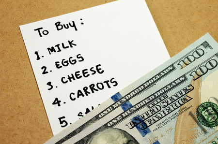 checking ingredients: Shopping list written on paper for buying groceries on budget 200 dollars