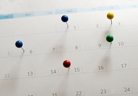 Events calendar- mark the event day with a pin. Personal Organizer.
