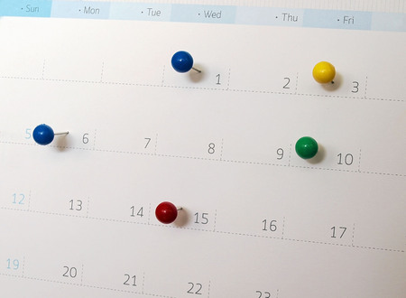 upcoming: Upcoming events. Calendar with thumbtacks as a concept of events