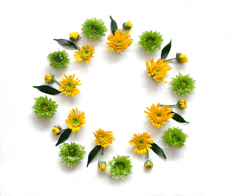 round: Flowers composition  made of various yellow and green flowers on white background. Spring, summer, easter concept. Flat lay, top view Stock Photo