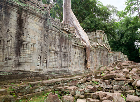 Preah Khan temple at Angkor, popular among tourists ancient landmark and place of worship in Southeast Asia. Siem Reap, Cambodia. Preah Khan temple has been swallowed by jungle. Stock Photo