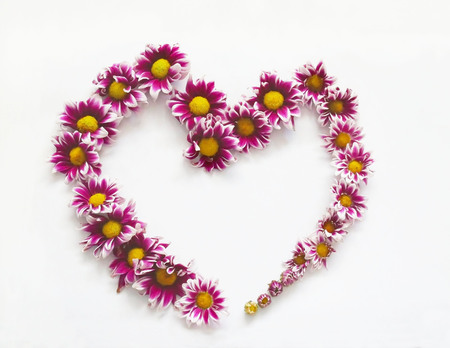 round: Flowers composition heart frame pattern with flowers bud on white background.
