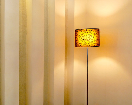 lamp shade: Classic standing lamp with lampshade bright light in living room.