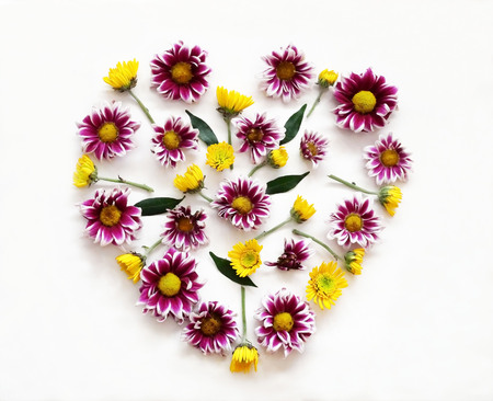 round: Flowers composition in shape of heart made of pink and yellow flowers on white background. Spring, summer, easter concept. Flat lay, top view Stock Photo