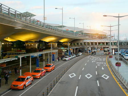 Seoul, South Korea - 6 November, 2017: Taxi waiting for passengers in front of arrival terminal at the Incheon international airport Seoul Korea.