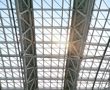 Building construction of metal steel roof.