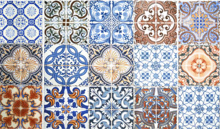 Vintage ceramic tiles pattern wall decoration texture and background.