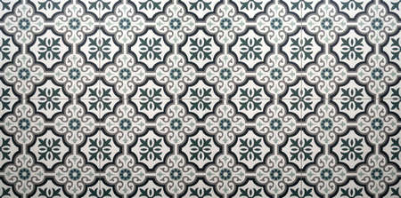 Vintage floral pattern ceramic tiles floor decoration texture and background.
