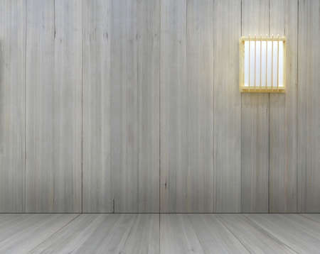 Wood wall with lamp japanese style mockup for interior decoration.