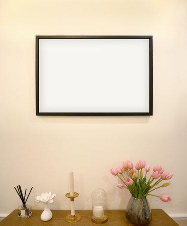Mock up frame in living room, interior design background.