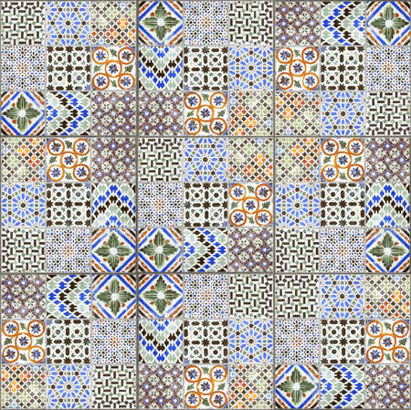 Vintage ceramic tiles wall decoration texture and background.