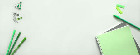 School supplies in green color. Back to School banner background for web design.