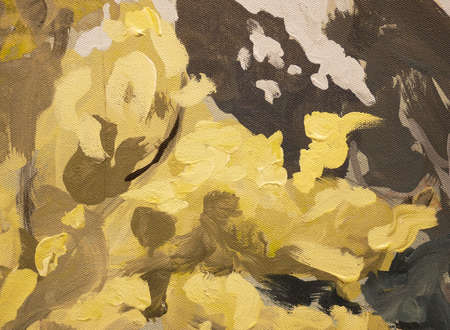 Yellow and dark grey color paint texture with brush strokes abstract art background, fragment of acrylic painting on canvas.