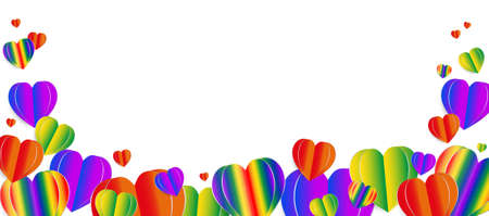 Paper elements in shape of heart. Vector symbols of LGBT heart , homosexual love concept.