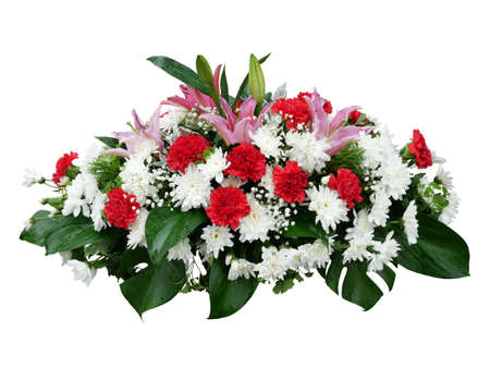 White Chrysanthemum flowers, red Carnation and pink Lily with tropical leaves Monstera arrangement nature bush backdrop isolated on white background Banque d'images
