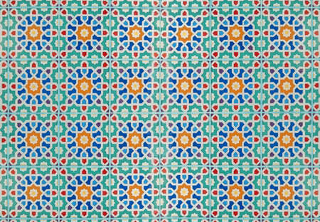 Colorful floral pattern ceramic tiles wall decoration texture background.