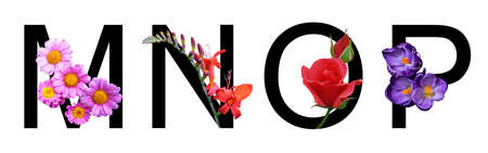 Flower font alphabet m, n, o, p made of real flowers. Collection of flora font for decoration in spring, summer concept.