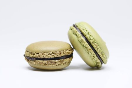 Two macarons Isolated on white background 스톡 콘텐츠