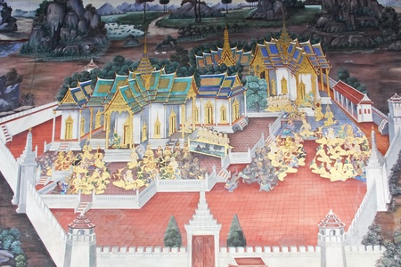 Ancient paintings inside Wat Phra Kaew in Thailand