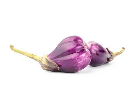 Fresh eggplant on white background photo