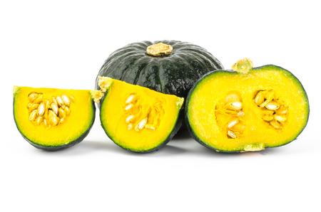 Fresh raw pumpkin on white background photo