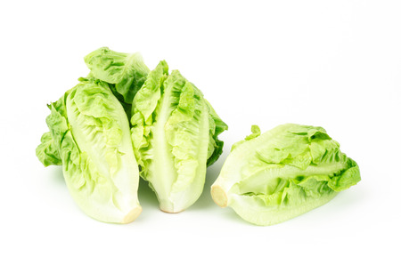 cos: Fresh lettuce (baby cos) on white background Stock Photo
