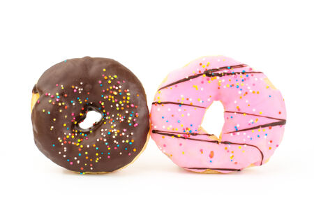 Colorful donut on white background photo