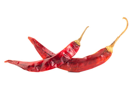 Dried chili on white background photo
