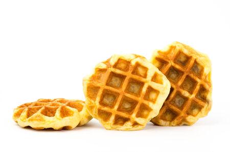 Delicious waffle on white background photo