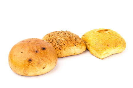 maize: Maize max roll and multimalt roll bread on white background