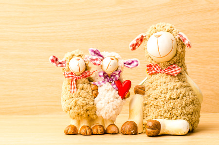 Family sheep doll in Valentine day photo