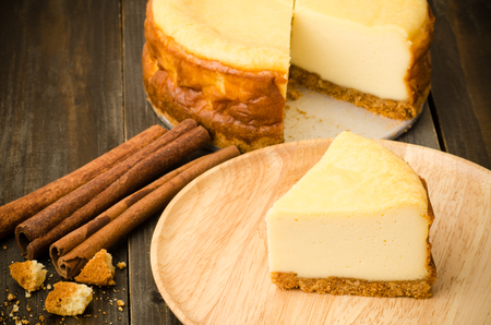 New york cheese cake on wooden background
