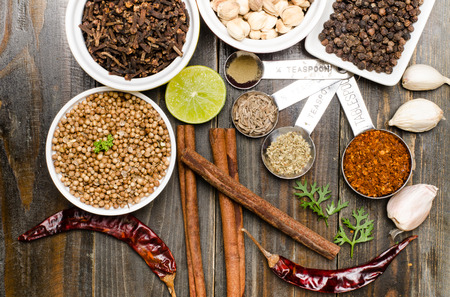 seasoning: Herbs and spices, food seasoning on wooden background